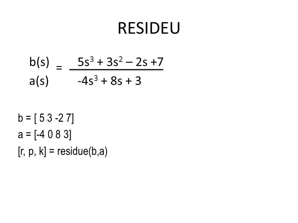 RESIDEU b(s) 5s3 + 3s2 – 2s +7 = a(s) -4s3 + 8s + 3 b = [ 5 3 -2 7]